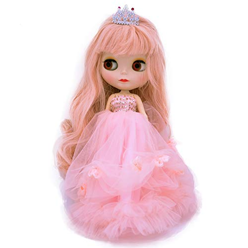 1/6 BJD Doll is Similar to Neo Blythe, 4-Color Changing Eyes Matte Face and Ball Jointed Body Dolls, 12 Inch Customized Dolls Can Changed Makeup and Dress DIY, Nude Doll Sold Exclude Clothes (Pink)