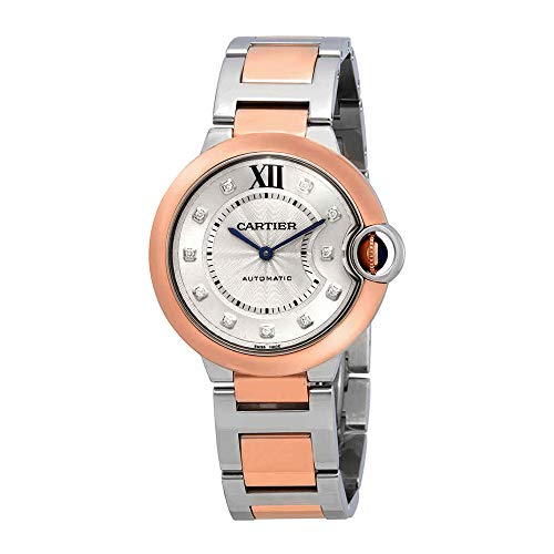 Cartier Ballon Bleu Automatic Diamond Dial Ladies Steel and 18kt Rose Gold Watch W3BB0013