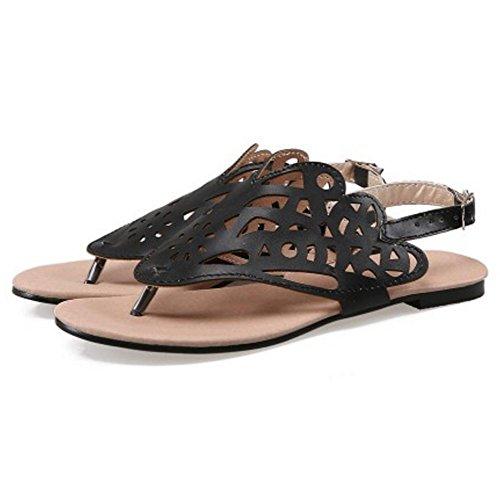 Sandales RAZAMAZA Plates Femmes Black Slingback Mode qTgtxHT