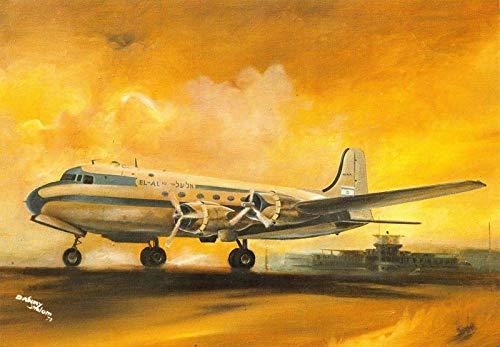 AD Postcard El Al Israel Airlines Airplane Douglas DC-4 Skymaster~119243
