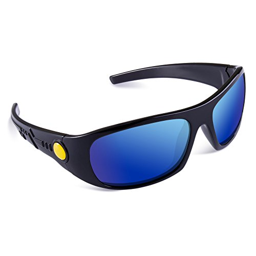SEEKWAY Kid's Polarized Silicon Rubber Sunglasses For Toddlers Children Age 3-10 SRK808(Black&Black,Blue Iced Lens)