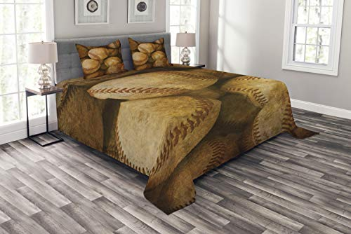 Lunarable Vintage Coverlet Set Queen Size, Vintage Baseball Background American Sports Theme Nostalgic Leather Retro Balls Artwork, Decorative Quilted 3 Piece Bedspread Set with 2 Pillow Shams, Brown