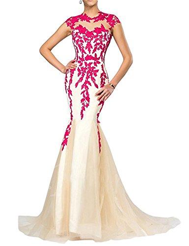 FOLOBE apliques de encaje vestido de la madre de la novia vestido de noche formal de la sirena largo Fucsia