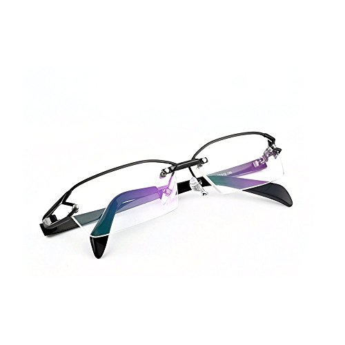 MICNL/Titanium Semi-rimless Eyeglasses Business Optical Geometric Frame Clear Lens (black, - High End Eyeglasses Brands