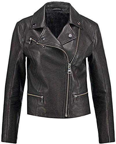 Women's Genuine Leather Biker Jacket Stylish Motorcycle Real Lambskin Leather Urban Jacket WJ612 Black