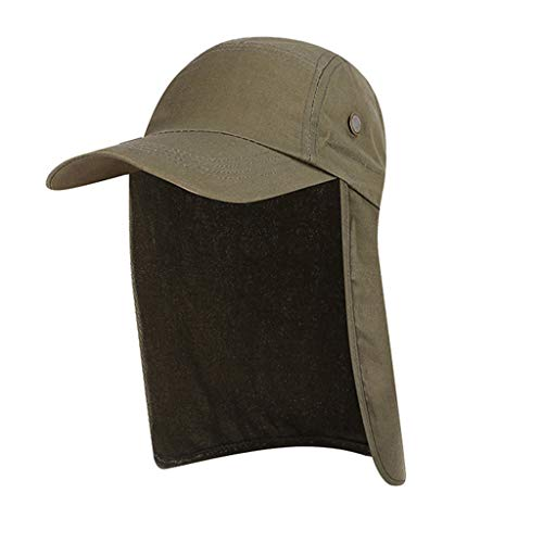 YEZIJIN Unisex Summer Neck Flap Sun Visor/Hats Wide Brim UV Protection Hiking Cap Summer Best 2019 New Army Green