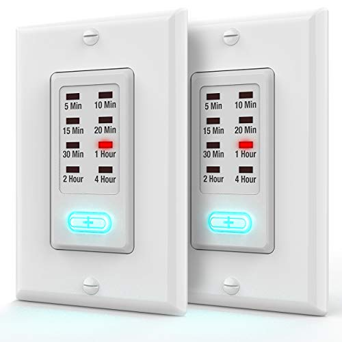 Light Timer Switch UL Listed, Fosmon 9 Setting 1875W In-Wall Countdown Electrical Switch [OFF-5-10-15-20-30 Min, 1-2-4 Hr] Energy Saving for Fans, Vent, Lights, Heaters, Decorative (2 Pack) ()