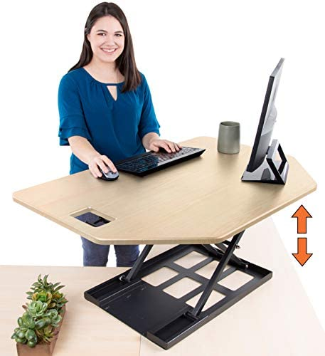 Stand Steady X-Elite Pro Corner Standing Desk 40 Inch Corner Sit to Stand Desk Converter Ideal for Cubicles and L Shaped Desks Easy Height-Adjustable and Fully Assembled Maple