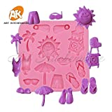 1 piece Sunshine Beach Swim Flowers Fondant Cake Molds Soap Chocolate Mould for the Kitchen Baking 3d Silicone Mold for Candle SM-302