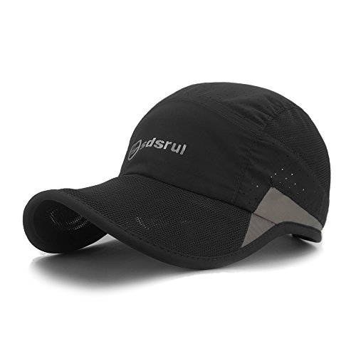 LETHMIK Reflective Running Sports Cap Unisex Summer Quick Dry Outdoor Performance Hat Black