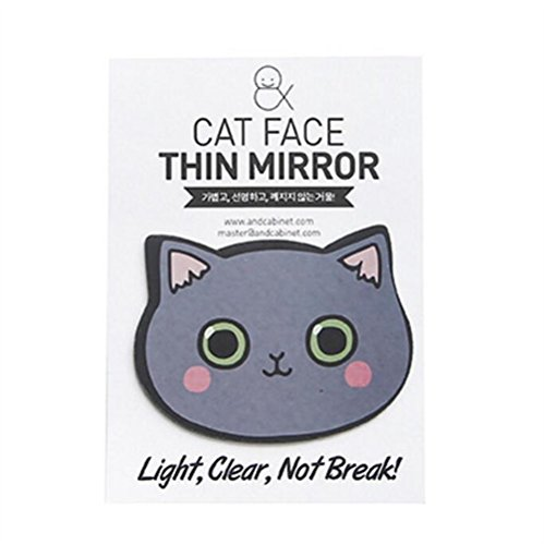 pinjewelr Women's Accessories Adorable Gray Cat Design Compact Pocket Size Mirrors Makeup Accessory by Pinjewelry