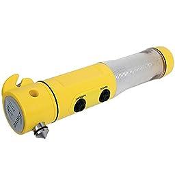 Auto 4 In 1 Flashlight Emergency Tool w/ Window Spike & Car Seat Belt Cutter