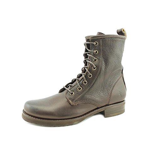 Frye Veronica Combat - Botas de canvas mujer Dark Brown Brush Off Leather