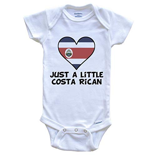 Really Awesome Shirts Just A Little Costa Rican Onesie - Funny Costa Rica Flag Baby Bodysuit, 6-9 Months White (Live In Costa Rica For 6 Months)