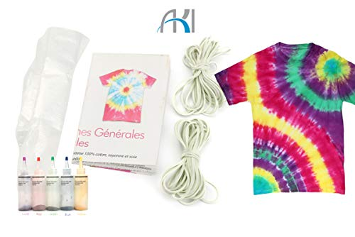 Tie Dye Kit - 5Pcs One Step Tie Dye Kit +20Pcs Rubber Bands +4 Pairs Vinyl Gloves Activated Dye for Clothing Shoes DIY Craft
