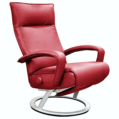 Gaga Recliner Chair by Lafer (Cherry Genuine Leather FCJ501) Cherry Leather Recliner