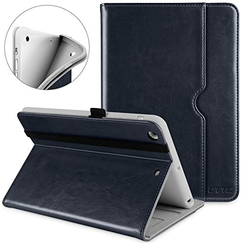 DTTO iPad Mini 1 2 3 Case, Premium Leather Folio Stand Cover Case with Multi-Angle Viewing and Auto Wake-Sleep Function, Front Pocket for Apple iPad Mini 1/Mini 2/Mini 3 - Blue