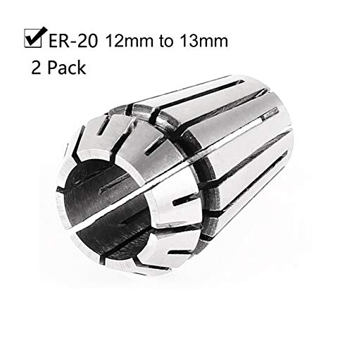 Rannb Spring Collet ER20 12mm to 13mm CNC Milling Lathe Collet - Pack of 2