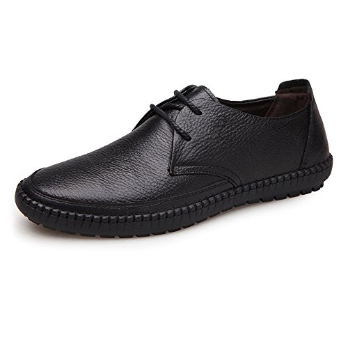 Tamaño Zapatos Plana Clásico Marrón Negro Eu Mocasines Punta 42 Superior Para Hasta Redonda Genuino shoes Suave Hombre Cuero Holgazán Encaje Piel 2018 De Yajie Vaca color q1tS0BwHx4