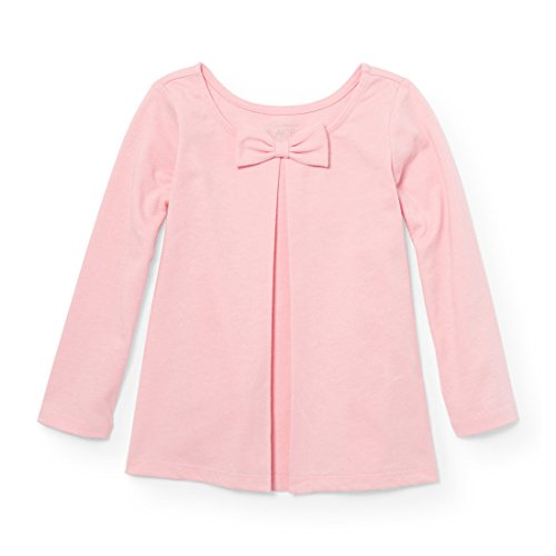 The Children's Place Baby Little Girls' Solid Bow Knit Top, Angel Kiss 94319, 5T