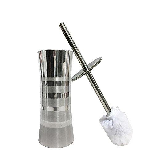 (USGO Modern Stainless Steel Bathroom Toilet Cleaner Brush w/Canister Holder︳ Tapered Head︳Toilet Bowl Brush, Toilet Brush with Holder︳Strong Bristles Heavy Holder︳Premium Stainless Steel)