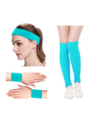 Women's 80s Neon Running Headband, Wristbands and Leg Warmers Set