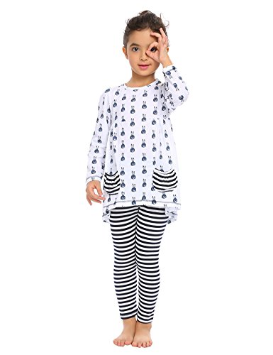 Arshiner Little Girls Clothing Sets Bunny Long Sleeve Outfits 2 PCS Top Leggings Pajamas Sets White