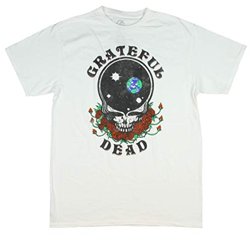 Bioworld Men's Grateful Dead Tshirt Steal Your Face Empty Space Skull and Roses Distressed T-Shirt (Medium) ()