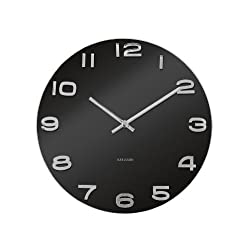 Karlsson Wall Clock Vintage Round Glass, Black