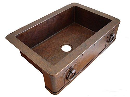 Ariellina Farmhouse 14 Gauge Hammered Copper Kitchen Sink