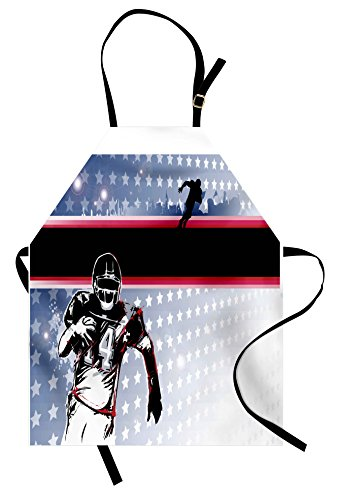 Ambesonne Americana Apron, Baseball American Football Player Running in the Field with the Stars Pattern, Unisex Kitchen Bib Apron with Adjustable Neck for Cooking Baking Gardening, (Football Star Bib)