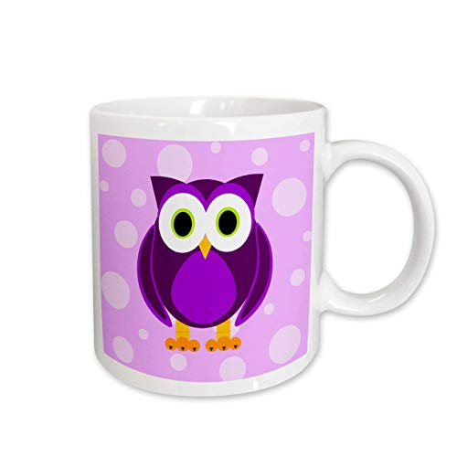3dRose Cute Purple Owl on Light Purple Background Ceramic Mug, 15-Ounce (Art Owl Pic)