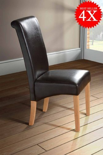 Milano Scroll Back Faux Leather Dining Room Chair   BROWN X4 Part 60