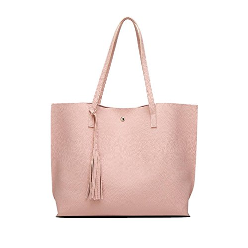 Yuan Women Handbag Leather Shopping Shoulder Tote Bag Purse Top-Handle Bags for Girl Pink