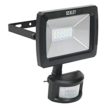 Sealey LED089 SMD LED Floodlight with PIR Sensor and Wall Bracket, 70 W, 230 V, Black