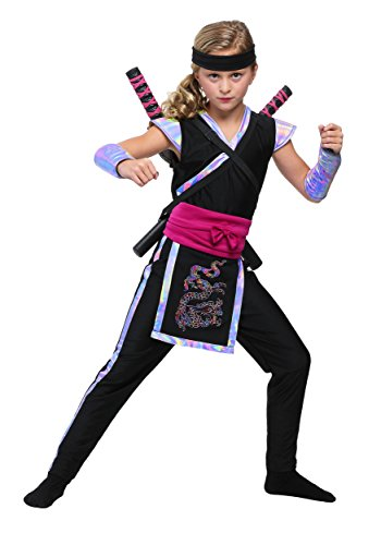 Pink Dragon Ninja Costumes (Girl's Rainbow Ninja Costume X-Large (16))
