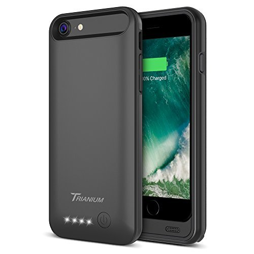 iPhone 7 Battery Case, Trianium Atomic Pro iPhone Portable Charger iPhone 7 2016 (4.7 inch) Charging Case [Black] 3200mAh Extended Battery Pack Power Cases Juice Bank Cover[Apple Certified Part]