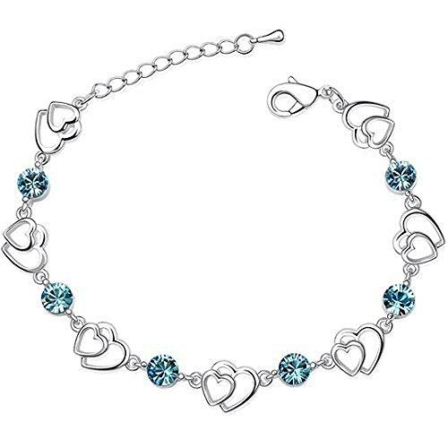 Light Blue Crystal Multiple Heart Double Hearts Stones Bracelet Made With Swarovski Elements (Light Link Heart Bracelet)