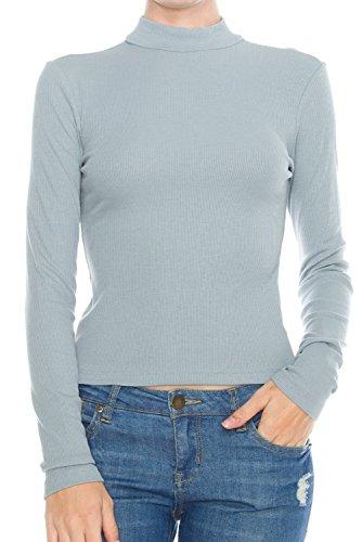 KLKD A060 Women's Ribbed Mock Neck Long Sleeve Knit Crop Top Dolphin Grey Medium