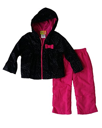 Animal Hoodie Child Leopard (Penelope Mack Toddler Little Girls' Animal Print Hooded Warm-Up Jacket & Pant Set (4T, Black))