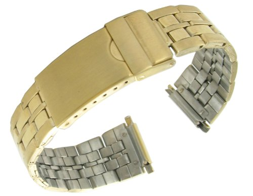 (16-22mm T&C Stainless Solid Link Gold Tone Deployment Buckle Watchband )