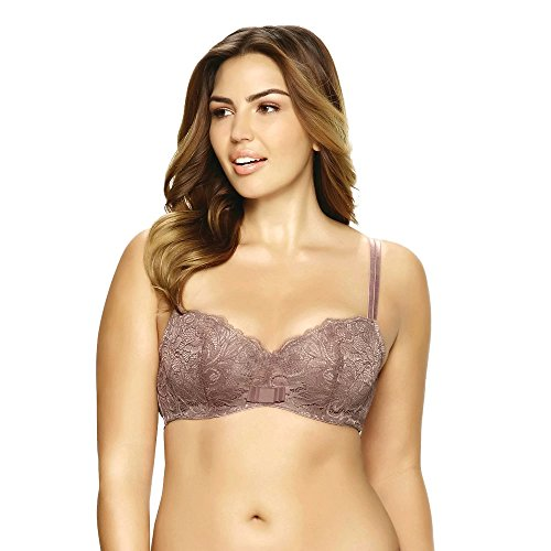 Lace Overlay Underwire (Paramour Women's Sophia Underwire Balconette Bra With Lace Overlay (40DD, 0))
