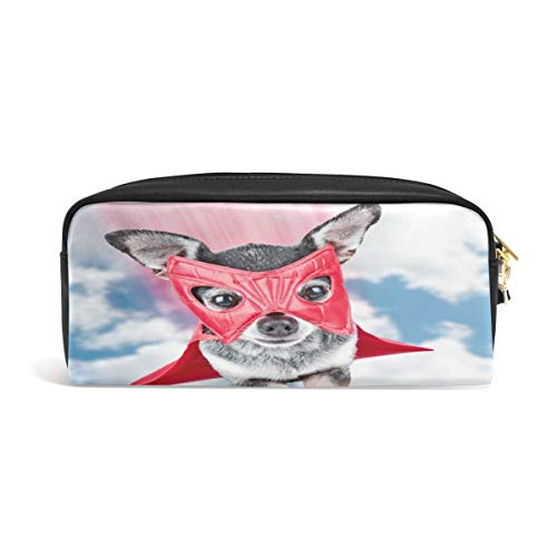Pencil Case Big Capacity Pencil Bag Makeup Pen Pouch Cute Chihuahua in Super Hero Costume Flying Through The Sky Durable Students Stationery Pen Holder for School/Office