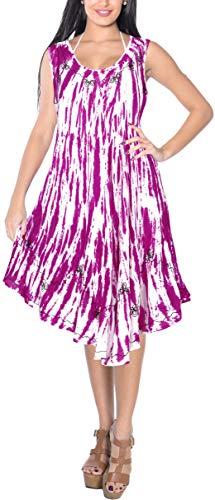 LA LEELA Women Floral Plus Size Caftan Dress Hand Tie Dye Pink_Y871 US Size 14-20W