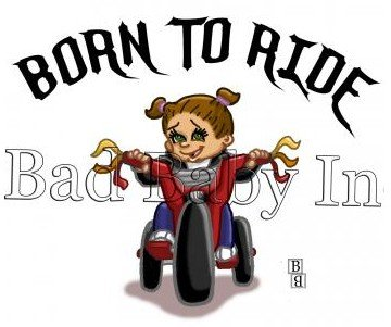 BORN TO RIDE Girl Infant Baby Bib, 100% combed ringspun cotton 5.8 ounce (Light - Dvd Fun Car Ride