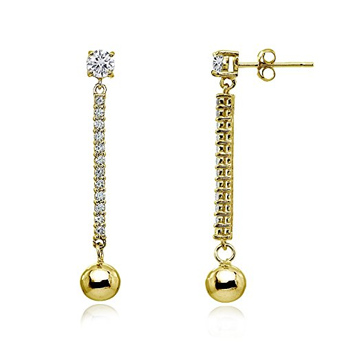 Yellow Gold Flashed Sterling Silver Cubic Zirconia Round Long Dangling Bar Bead Drop Stud Earrings (Beads Drop Cubic Zirconia)