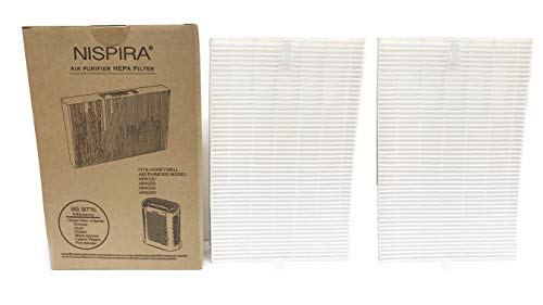 Nispira True HEPA Replacement Filter R for Honeywell Air Purifier Models HPA300, HPA090, HPA100 and HPA200 Compared to HRF-R1 HRF-R2 HRF-R3, 2 Packs