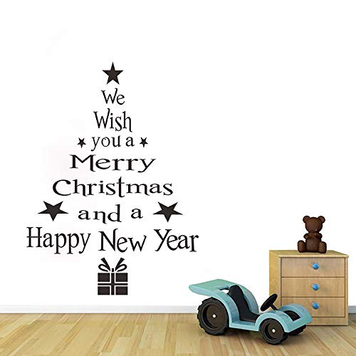 (Christmas Tree Letters Stick Wall Art Decal Mural Home Room Decor Wall Sticker - Christmas Letter Wall Sticker, Food-Decorating-Stencils | Outdoor Blue Silver Table Gold Set Lights)