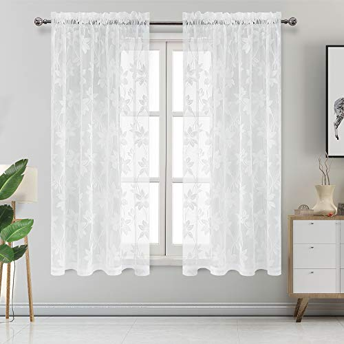 DWCN Floral Lace Sheer Curtains - Rod Pocket Window Voile Sheer Drapes for Bedroom Kitchen Short Curtains 52 x 63 inch Length, Set of 2 White Curtain ()