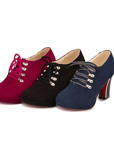 NJX/ Damenschuhe - Oxfords - Outddor / Büro / Kleid / Lässig - Kunstleder - Blockabsatz - Komfort / Spitzschuh - Schwarz / Blau / Rot 3in-3 3/4in-red